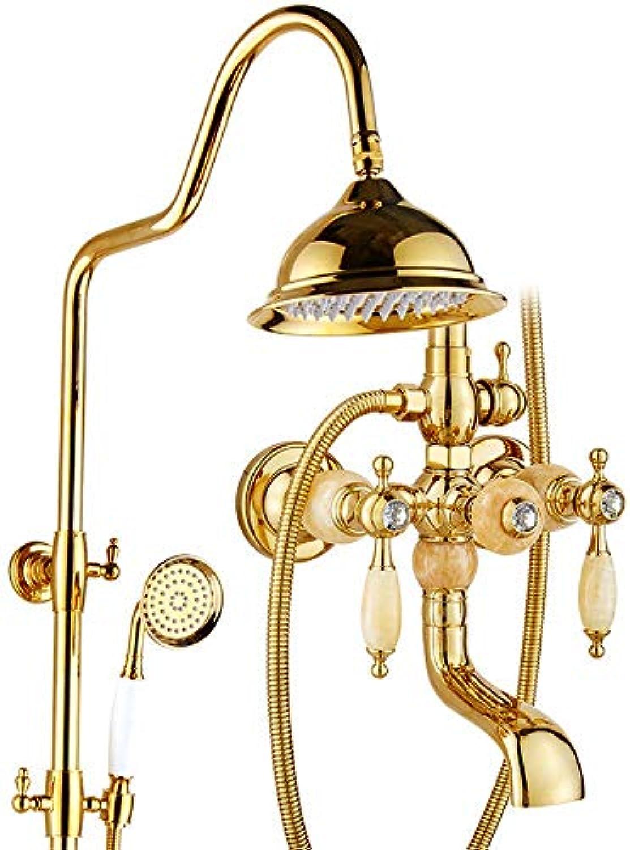 Europische Jade Flower Duschkopf für alle Kupfer Gold, Gold, antike Badewanne und abnehmbarem Duschkopf Dusche, Dusche