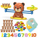 REMOKING Bear Balance Game Toy, Funny Math Number Game, Educational Learning Counting Number Toy with Numbers, Little Bears, Game Cards, Coins, Great Gifts for Kids 3 Years and up