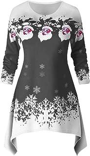 Auifor Vestido de Navidad con Estampado de Nieve y árbol de Navidad de Manga Larga para Damas de Navidad