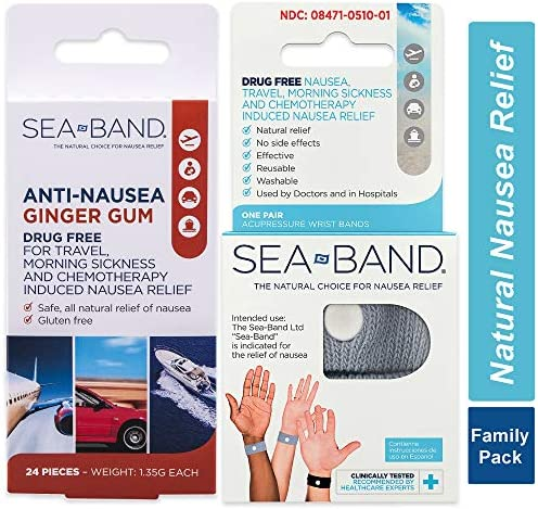 Sea-Band Anti-Nausea Acupressure Wristband for Motion or Morning Sickness, Adult, 1 Pair (Color May Vary)