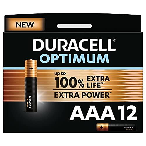 Duracell NEW Optimum AAA Alkaline Batteries [Pack of 12], 1.5 V LR03 MX2400