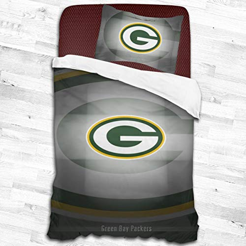 Comforter Twin Set Green Bay Packers Kids Bedding Set, Decorative 2 Piece Bedding Set with 1 Pillow Sham,Twin Size 53