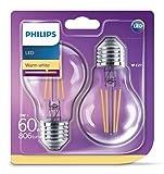 Philips pack de 2 bombillas LED estándar de filamento, efecto vintage, casquillo gordo E27, 7 W equivalentes a 60 W en incandescencia, 806 lúmenes, luz blanca cálida