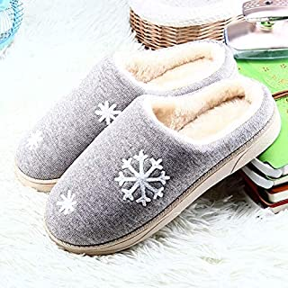 YANGLAN Autumn and winter couple cotton slippers non-slip warm cotton slippers floor home slippers Household slippers (Color : E, Size : (36~37))