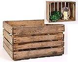 Spetebo Caisse en bois décorative originale 51 x 41 x 32 cm – Caisse à vin, caisse à fruits – Idéal pour la construction de tables, étagères, etc.