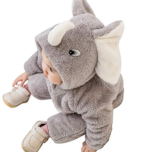 Fairy Baby Baby Boys Girls Winter Romper Outfit - Fleece Footed Jumpsuit Catoon Cute Bear Ears Hood - Snowsuit Warm Onesies Jumpsuit for Newborn Infant Gray Elephant 3-6 months