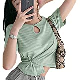 Cuello Redondo Crop Tops for Women Niña Manga Corta Jersey Crop Top con Verde Gris Tops Mujer Cortos S