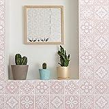 Walplus Sevilla Ligero Rosa Español Azulejo Set de Pegatinas - 15 X 15CM (6 X 6 IN) - 24 Piezas, Bricolaje Arte, Decoraciones para el Hogar, Adhesivos, Decoración de Cocina, Baño Ideas