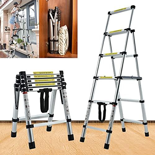 GXXDM 4+5 Step Ladder Telescoping Ladder 4.5FT Portable Multi-Purpose Folding Ladder Aluminum Heavy Duty Extension Telescopic Ladder Convenient Handgrip Widened Pedal Safety Lock 330lb M