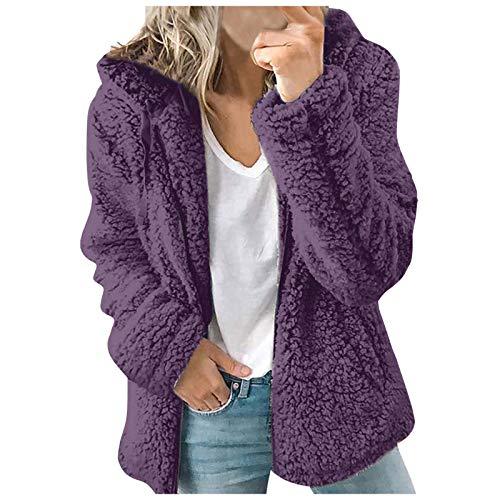 2021 Moda Chaquetas de Lana Mujer Casual Abrigo con Capucha Felpa cálida Chaquetas con Cremallera Cardigan Tops Abrigo (Purple, L)