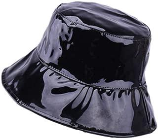 ACVIP Women's Patent Leather Sun Block Bucket Hat