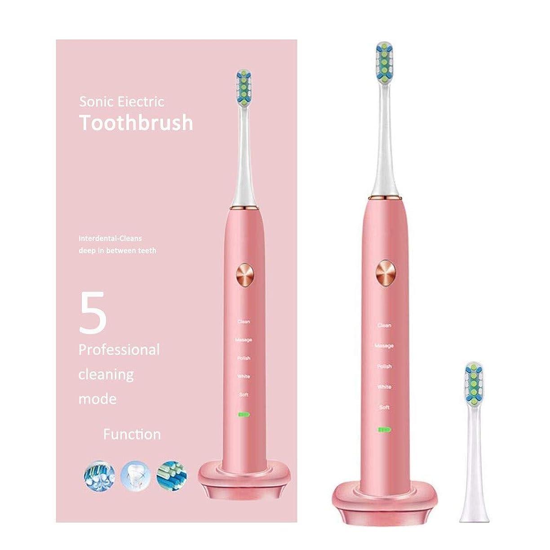 リスク舗装アテンダント充電式5モードの電動歯ブラシ自動タイマーIpx7でお手入れ可能Pink