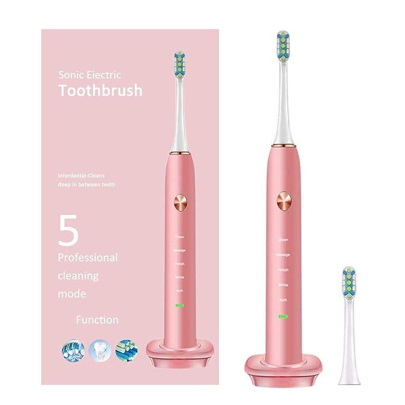 カスタムバンガロー一定充電式5モードの電動歯ブラシ自動タイマーIpx7でお手入れ可能Pink