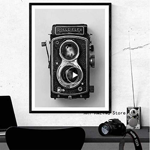 LYHNB Arte de la Pared de la Lona 60X90CM sin Marco Rolleiflex Póster de la cámara Vieja Negro Blanco Cámara Vintage Impresión Hipster Regalo Fotografía Arte de la Pared Decoración Retro