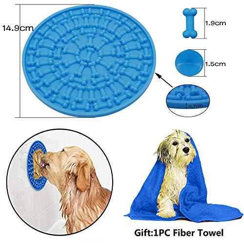 kungfu Mall 1 x Hunde-Badematte für Hunde und Bad, rund, Silikon-Knochen-Pad mit Saugnapf, für langsame Fütterung, Hund waschen, Ablenkungsgerät für Haustier-Badepflege, 1 x Mikrofaser-Handtuch