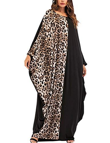 SPDYCESS Frauen Kaftan Muslimische Kleider Damen Abaya - Mode Leopard Muster Robe Islamische Kleidung Jalabiya Arabisch Kostüm Langes Kleid Muslim Maxikleid