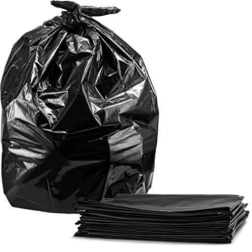 55-60 Gallon Contractor Trash Bags, 3.0 Mil, (50 Count w/Ties) Large Black Heavy Duty Garbage Bags,