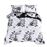 jieshiling Duvet Cover 100% Egyptian Cotton Luxury Duvet Cover Bedding Set 600 Thread Count Retro Nordic Europe Style Comfortable Bedding Set (Queen, White)