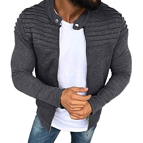 AKAIDE Herren Jacke Herbst/Winter Cardigan einfarbig, gestreift, schmal gestreift, Raglan-Reißverschluss, langärmelig Gr. XL, grau