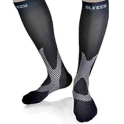 BLITZU Compression Socks 20-30mmHg for Men & Women Best Recovery Performance Stockings for Running, Medical, Athletic, Edema, Diabetic, Varicose Veins, Travel, Pregnancy, Relief Shin Splints, Nursing