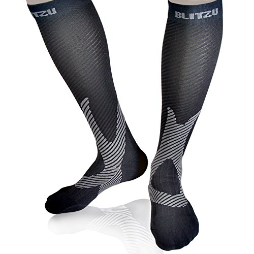 Blitzu Compression Socks 20-30mmHg for Men Women Marathon Running Travel Nursing