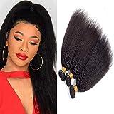 Kinky Straight Human Hair Bundles 20 22 24 Inch Yaki Straight Human Hair Weave 3Bundles Unprocessed Brazilian Virgin Human Hair Bundles Natural
