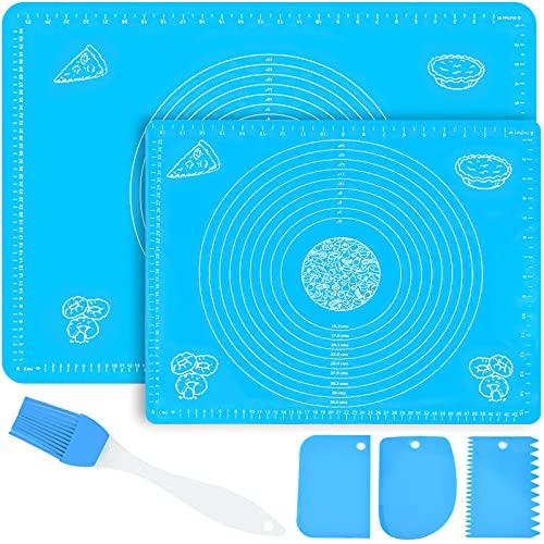VIPNAJI 2 pcs Tappetino da Pasticceria in Silicone Antiscivolo 70 × 50cm+50 × 40cm, Grande Tappetino da Forno, Tampone per Impastare, Antiaderente,Resistente al Calore, Antiscivolo,Pasta, Pasticceria
