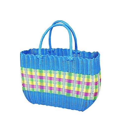 Xuan - Worth Having Blue Handmade Plastic Weaving Basket à Main Bath The Basket Panier Panier de Pique-Nique Anti-Corrosion (Taille : 38 * 15 * 28cm)
