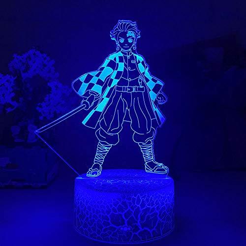 Kimetsu No Yaiba Tanjiro Kamado Figura LED Luz nocturna para niños dormitorio Decoración Nightlight Baile Niños Lámpara 3D Demon Slayer Regalo ZGLQ