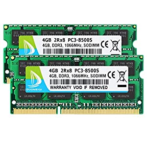 DUOMEIQI 8GB Kit (2 X 4GB) 2RX8 PC3-8500 PC3-8500S DDR3 1066MHz SODIMM CL7 204 Pin 1.5v Non-ECC Unbuffered Notebook…
