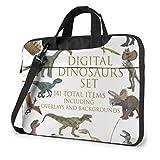 Dinosaurios Set Laptop Bag Hombro Messenger Bag Computer Tote Maletín para la Escuela de Trabajo