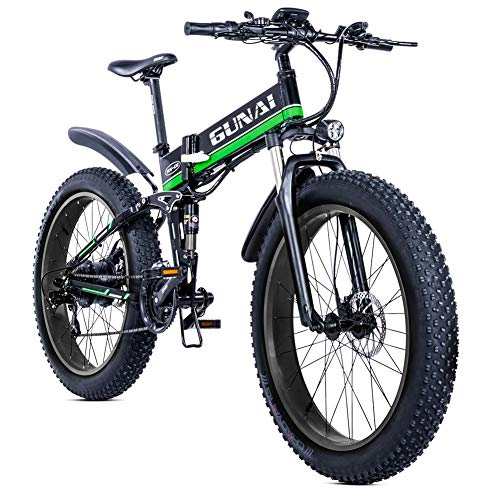 GUNAI Electric Bike,1000W 48V SHIMANO 21 Speed Fat Tire Folding Mountain Bike