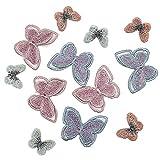 12 piezas de apliques de mariposa mezclados, hilo brillante bordado de coser parches de mariposa, ropa de bricolaje, bolsa/tocado accesorios de dise├▒o