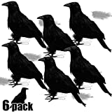 ATDAWN Halloween Black Feathered Crows, Realistic...