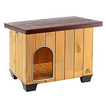 Ferplast Niche pour chiens pour l'extérieur BAITA 60, en bois FSC, pieds isolants en plastique, porte anti-morsures en aluminium, toit ouvrant