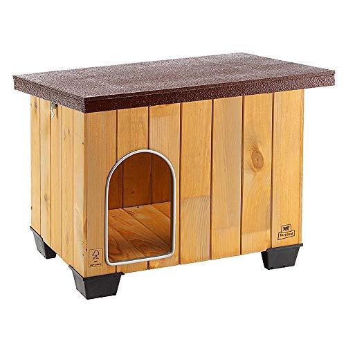 Ferplast Caseta de exterior para perros BAITA 60, Madera ecosostenible, Pies aislantes, Puerta con perfil de aluminio resistente a las mordeduras, Techo abrible, 71,5 x 57 x h 52,5 cm