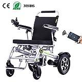 Mnjin Sillas de Transporte eléctricas para sillas de Ruedas, batería de Litio Liviana en el Anciano Scooter discapacitado Avión Ultraligero Plegable Plegable