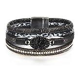 FANCY SHINY Leather Wrap Bracelet Boho Cuff Bracelets Crystal Bead Bracelet with Magnetic Clasp for Women Handmade Layered Bracelet for Women Teens(7.7', Black)