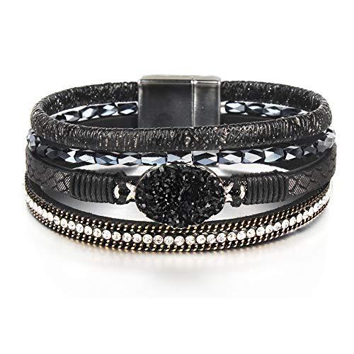 "FANCY SHINY Leather Wrap Bracelet Boho Cuff Bracelets Crystal Bead Bracelet with Magnetic Clasp for Women Handmade Layered Bracelet for Women Teens(7.7"", Black)"