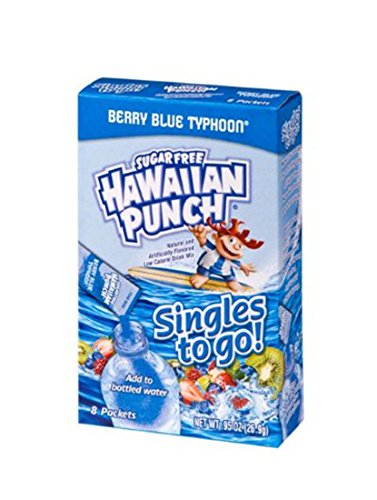 Hawaiian Punch Singles To Go Powder Sticks, Water Drink Mix, Berry Blue Typhoon, 8 Count, Pack of 12 - ORIGINAL FLAVOR