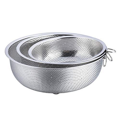 YITIANTIAN Strainer Colander Set of 3, Stainless Steel Perforated Metal Colander Strainer for Spaghetti Pasta Berry Dishwasher Safe Multifunction Kitchen Colander