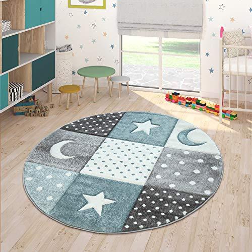 Paco Home Tapis Enfant Couleurs Pastel À Carreaux Pois Coeurs Étoiles Blanc Gris Bleu, Dimension:Ø 120 cm Rond