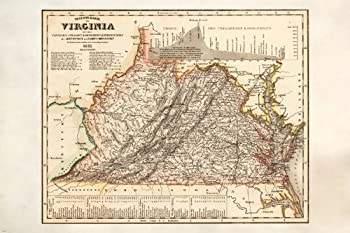 VINTAGE MAP OF VIRGINIA detailed colorful HISTORIC collector s item 24X36