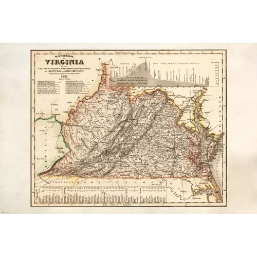 Amazon Com Vintage Map Of Virginia Detailed Colorful Historic