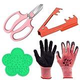 CODACE 4PCS Garden Pruning Shears Scissors Kit, Rose Thorn Remover, Tree Pruner Hand Tools, Cordless Trimmer & Floral Gloves for Gardening Flower Arrangement