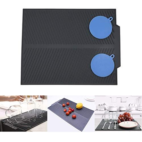 Alfombrilla de silicona para secar platos tamaño grande, con 2 fregadores de silicona multifuncionales, escurridor plegable para encimera, resistente al calor, apta para lavavajillas,43 x 33 cm,gris