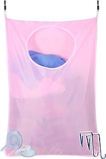 [S.fields.inc] 洗濯かご ランドリーバッグ ランドリーハンパー 洗濯物入れ 収納 壁掛け フック付き (ピンク)