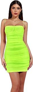 UONBOX Women's Ruched Organza Mesh Mini Summer Club Strap Dress