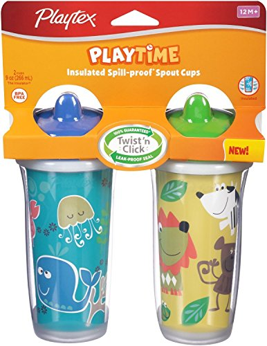 Playtex Playtime Insulated Spoll-Proof Spout Cups 2 Pack (Color and Design May Vary)