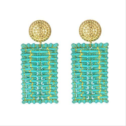 Para mujerPendientes de corazón de resina Para mujer Pendientes largos de cristal geométricos vintage grandes Declaración personalizadaSquare lake green